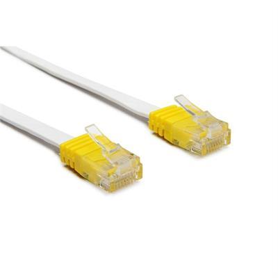 Cavo patch Cat 6 UTP, bianco, cappuccio giallo, 1.0m