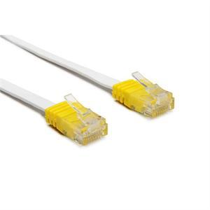 Cavo patch Cat 6 UTP, bianco, cappuccio giallo, 2.0m